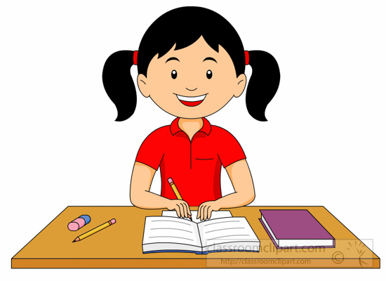 girl doing her homework clipart 6212